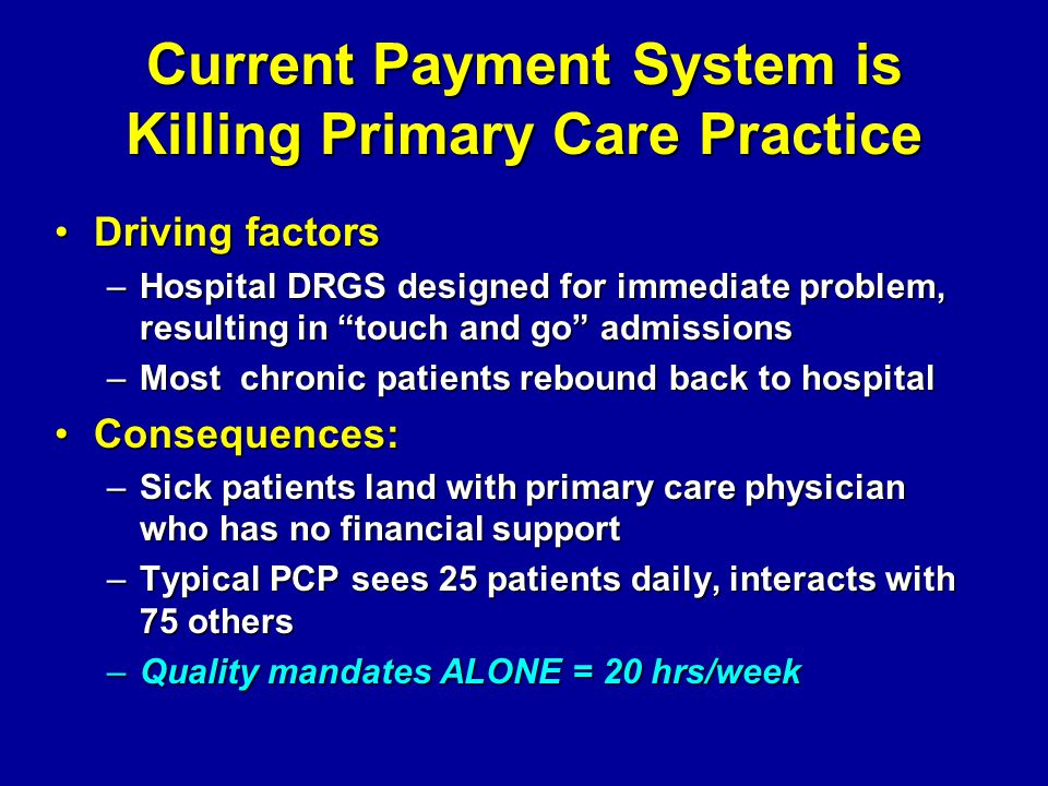 Current Payment System is Killing Primary Care Practice Driving factorsDriving factors –Hospital DRGS designed for immediate problem, resulting in tou