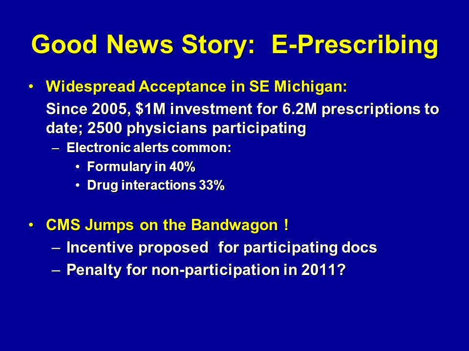 Good News Story: E-Prescribing Widespread Acceptance in SE Michigan:Widespread Acceptance in SE Michigan: Since 2005, $1M investment for 6.2M prescrip