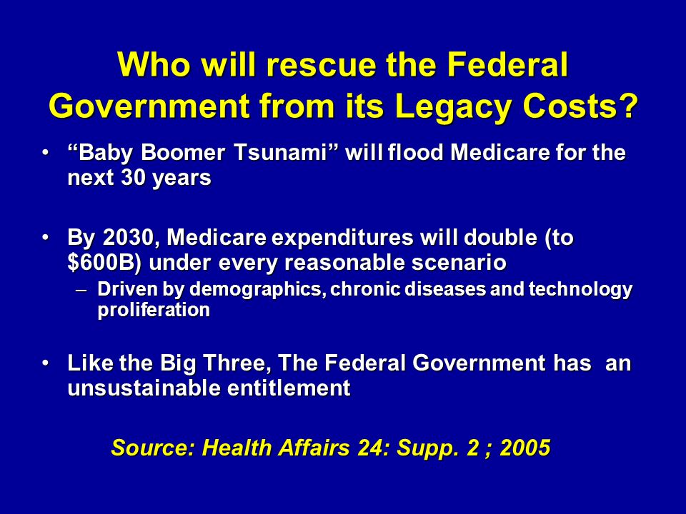 Who will rescue the Federal Government from its Legacy Costs? Baby Boomer Tsunami will flood Medicare for the next 30 yearsBaby Boomer Tsunami will fl