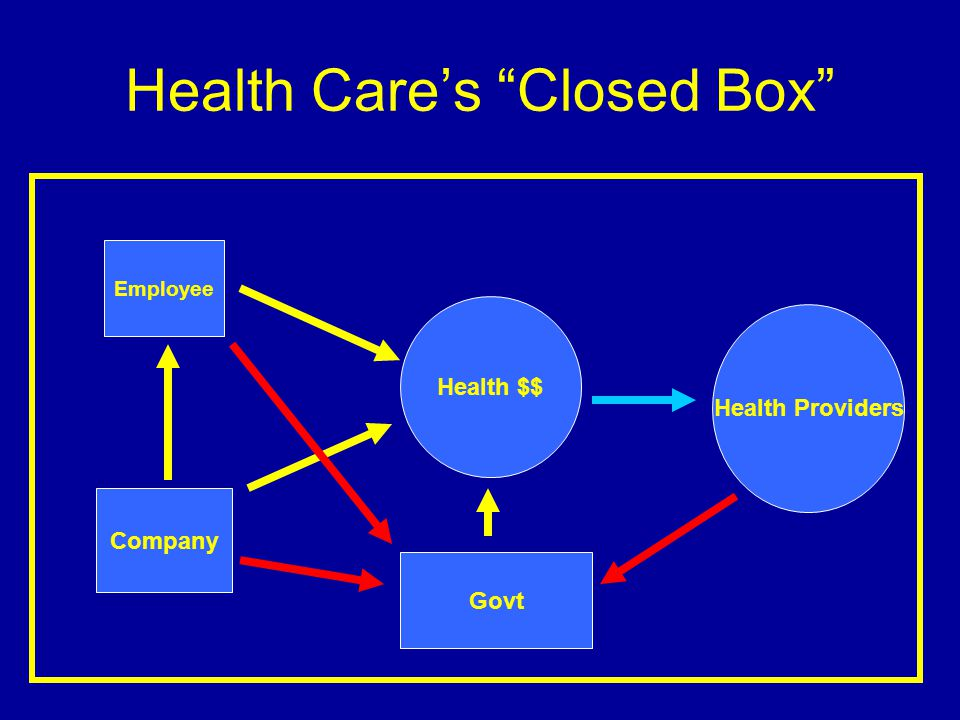 Health Cares Closed Box Health $$ Employee Company Govt Health Providers
