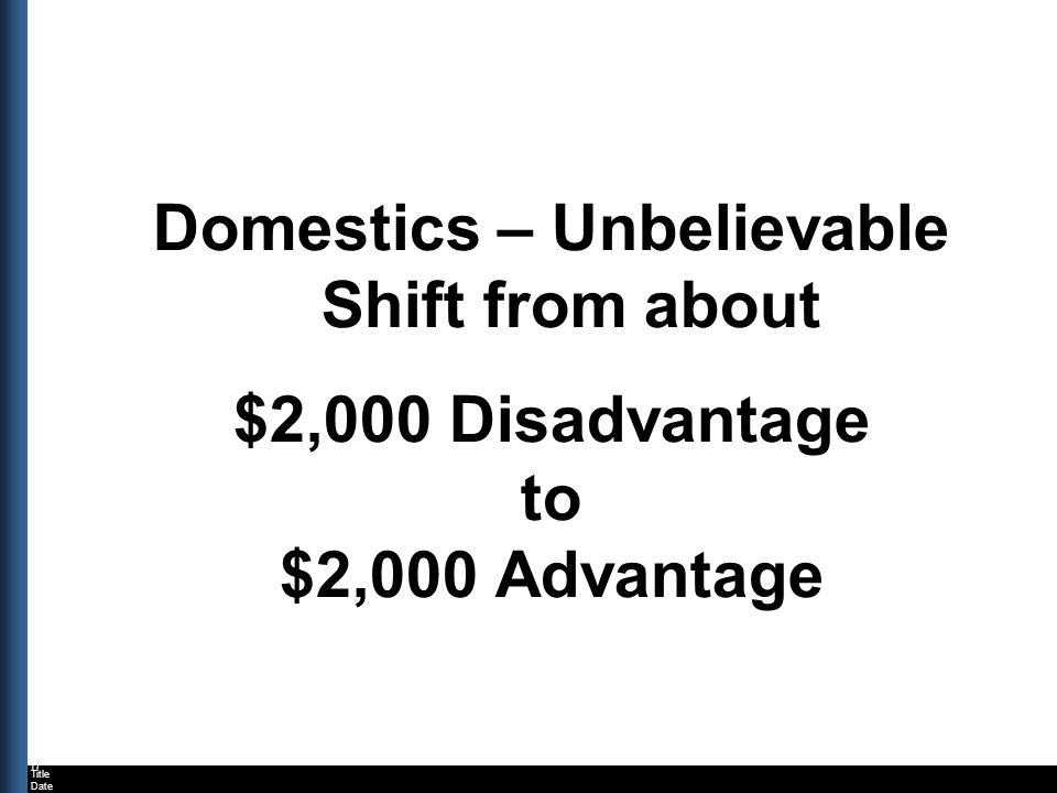 Title Date Domestics – Unbelievable Shift from about $2,000 Disadvantage to $2,000 Advantage 17