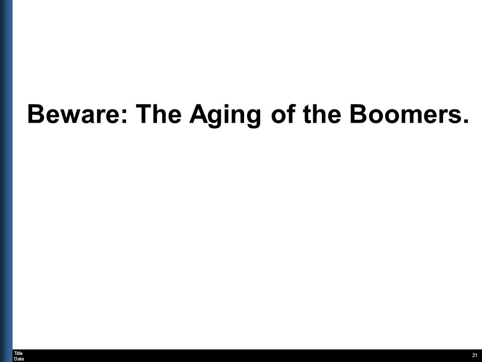 Title Date Beware: The Aging of the Boomers. 21