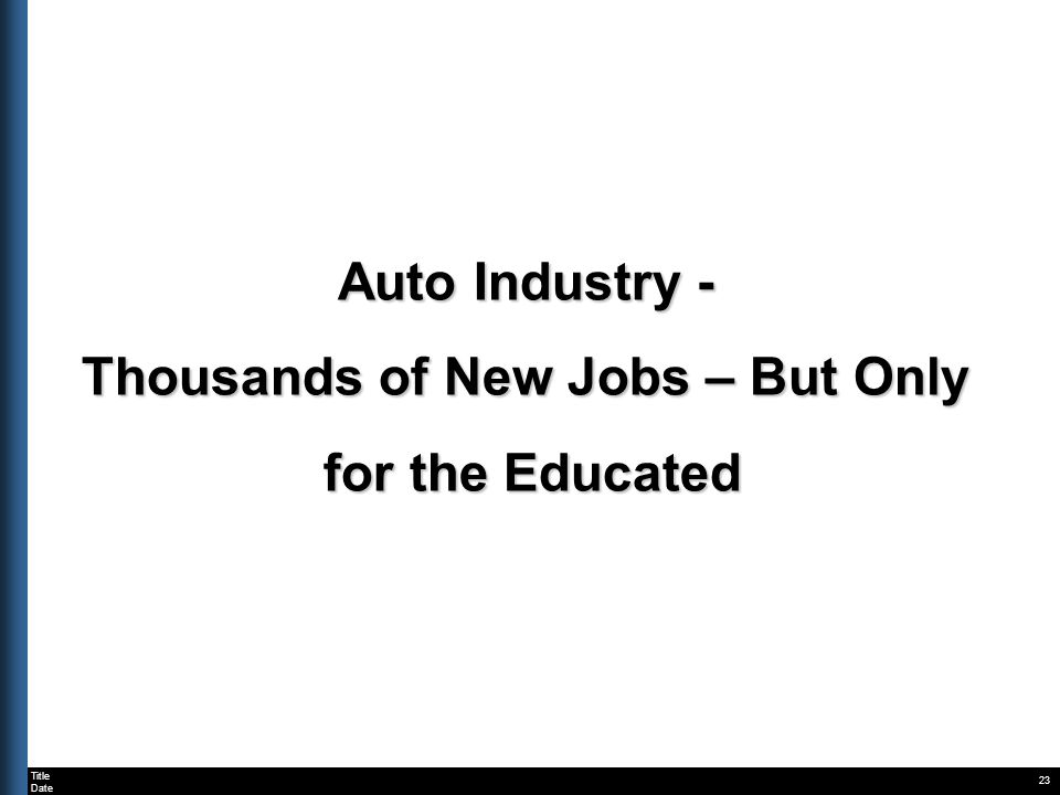 Title Date 23 Auto Industry - Thousands of New Jobs – But Only for the Educated for the Educated