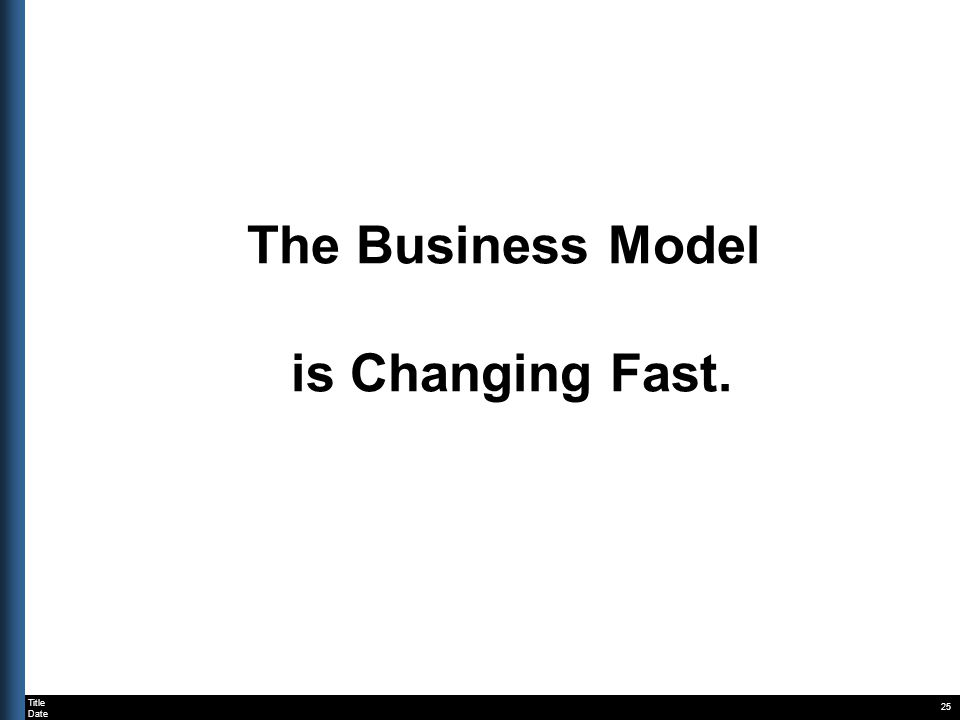 Title Date The Business Model is Changing Fast. 25