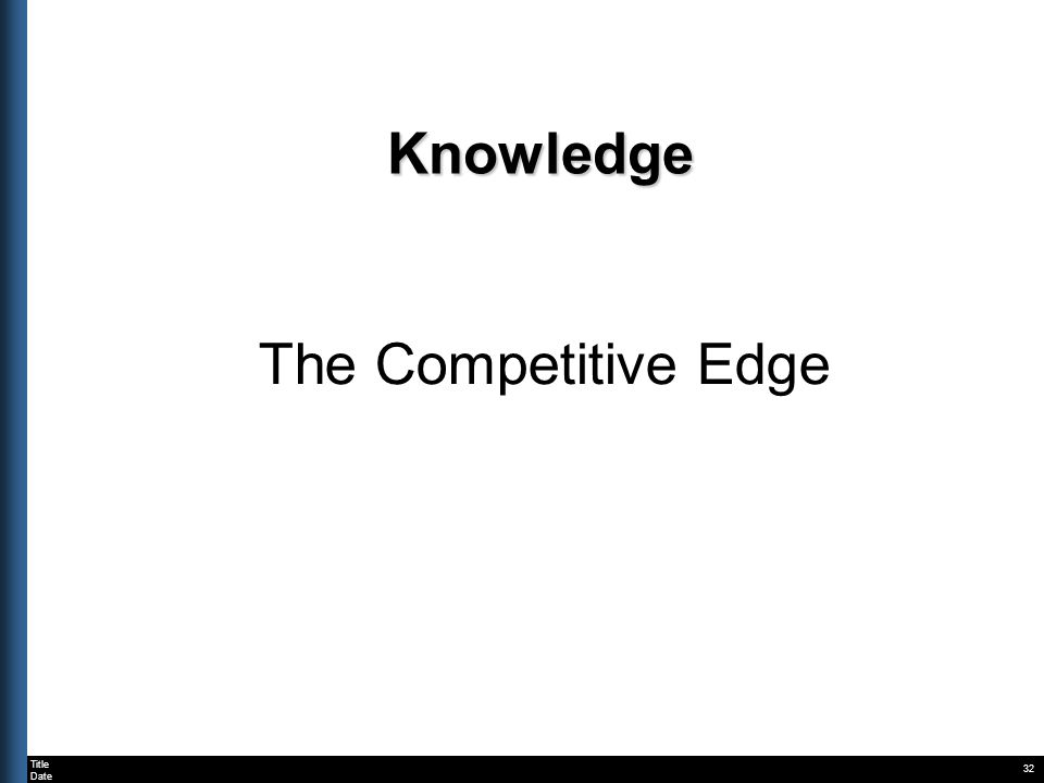 Title Date Knowledge The Competitive Edge 32