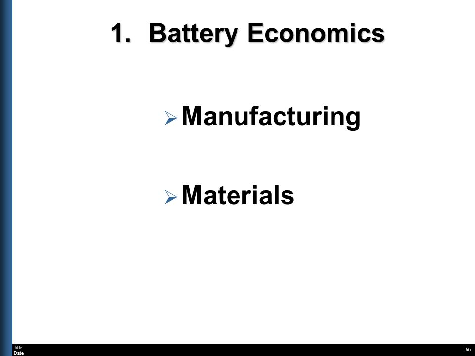 Title Date 55 1.Battery Economics Manufacturing Materials