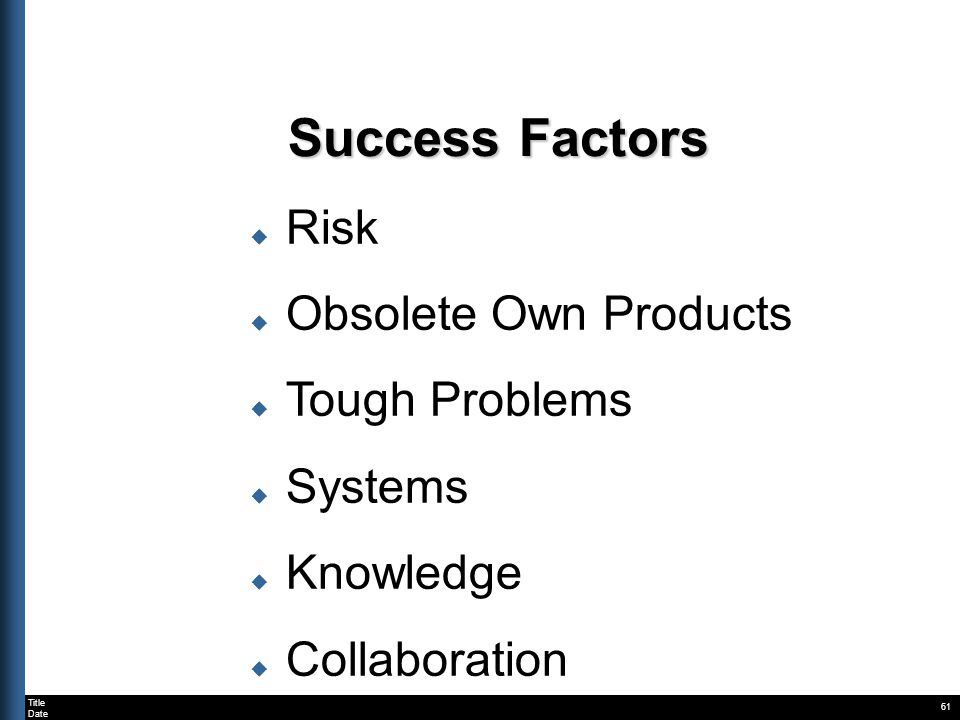 Title Date 61 Success Factors Risk Obsolete Own Products Tough Problems Systems Knowledge Collaboration