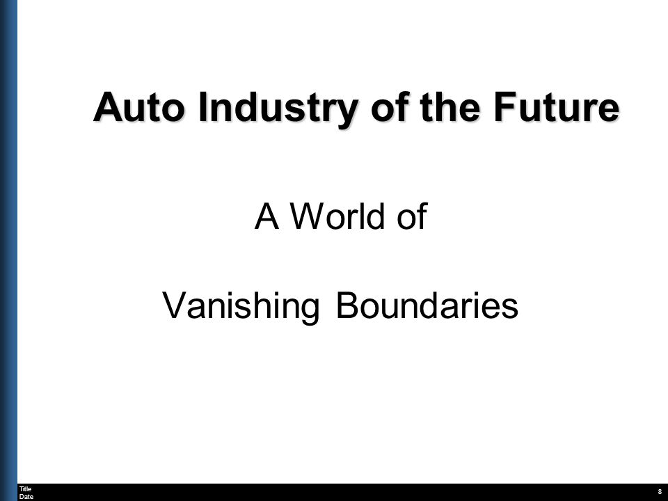 Title Date Auto Industry of the Future A World of Vanishing Boundaries 8