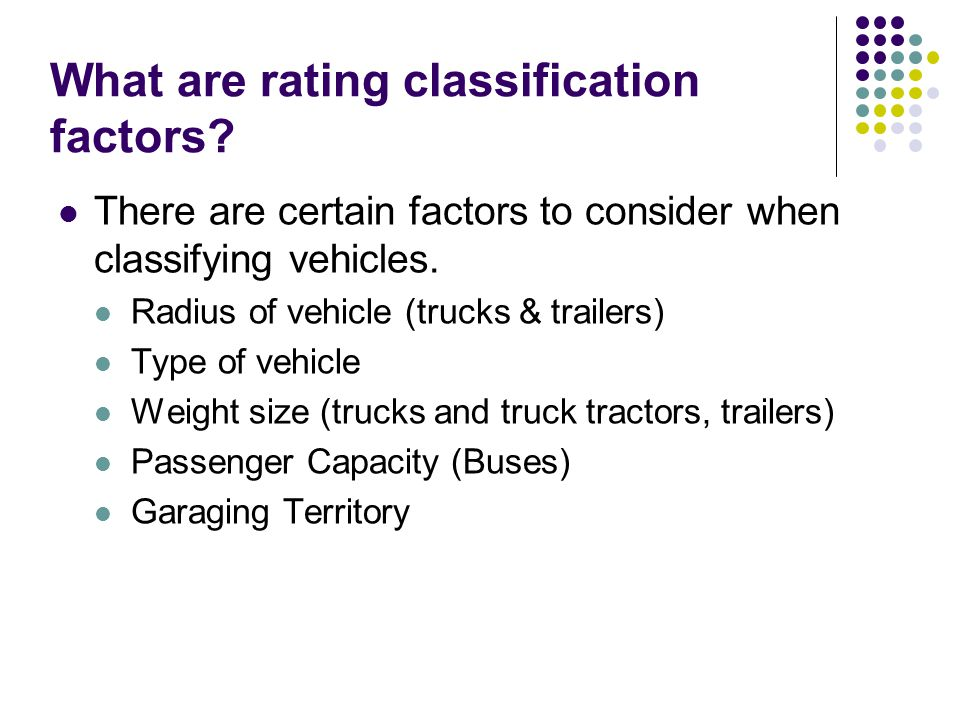 What are rating classification factors.