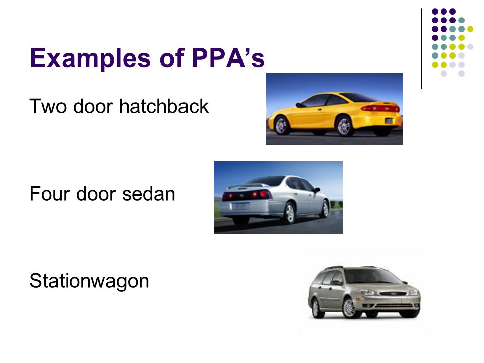 Examples of PPAs Two door hatchback Four door sedan Stationwagon