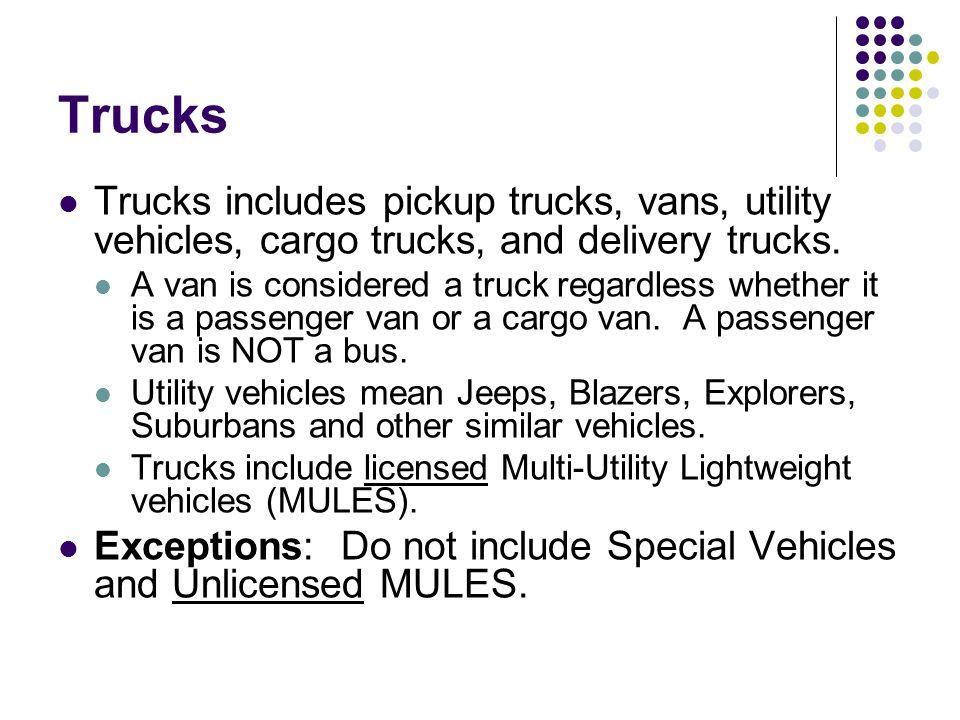 Trucks Trucks includes pickup trucks, vans, utility vehicles, cargo trucks, and delivery trucks.