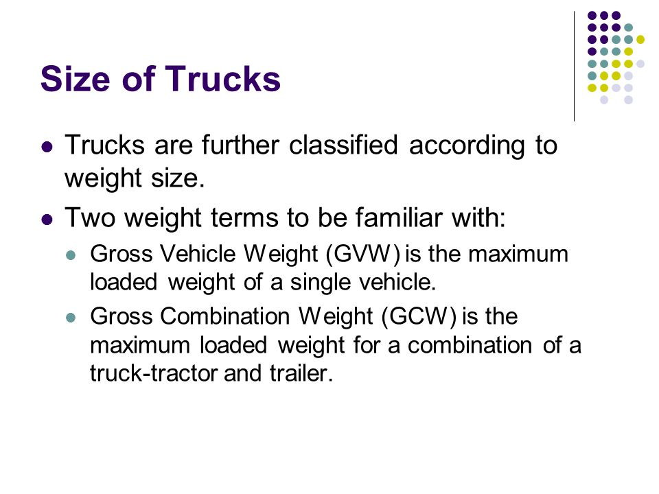 Size of Trucks Trucks are further classified according to weight size.