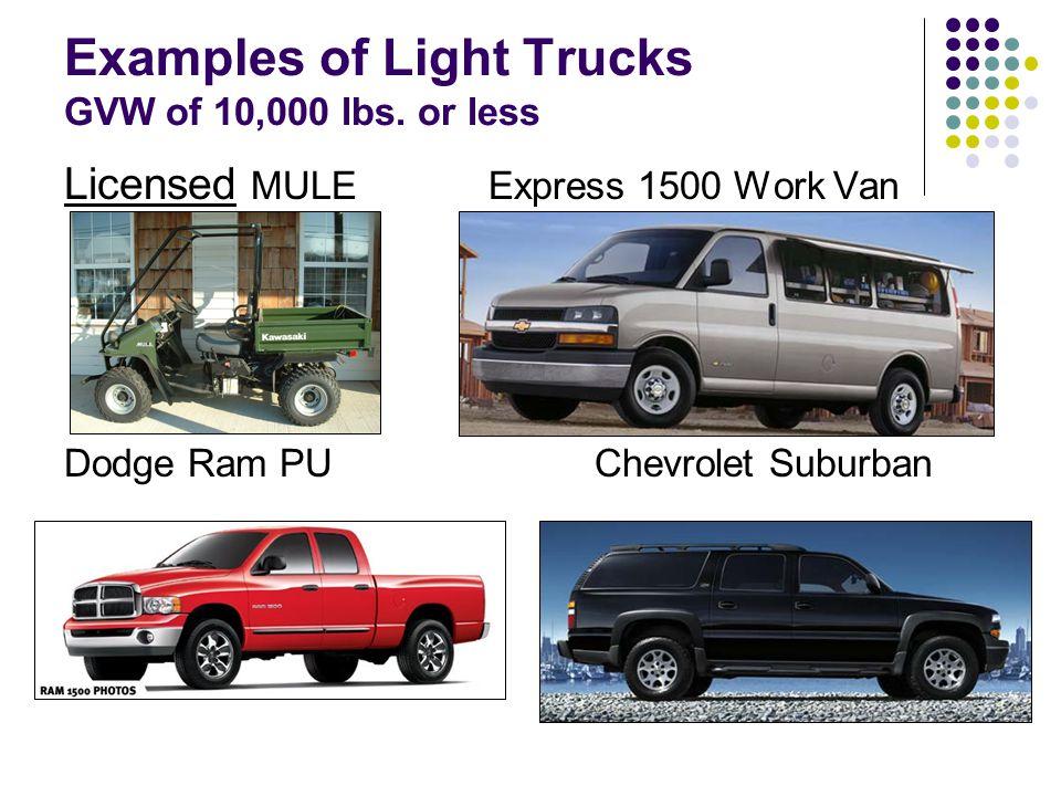 Examples of Light Trucks GVW of 10,000 lbs.