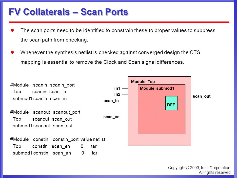 Copyright © 2009, Intel Corporation. All rights reserved. FV Collaterals – Scan Ports The scan ports need to be identified to constrain these to prope