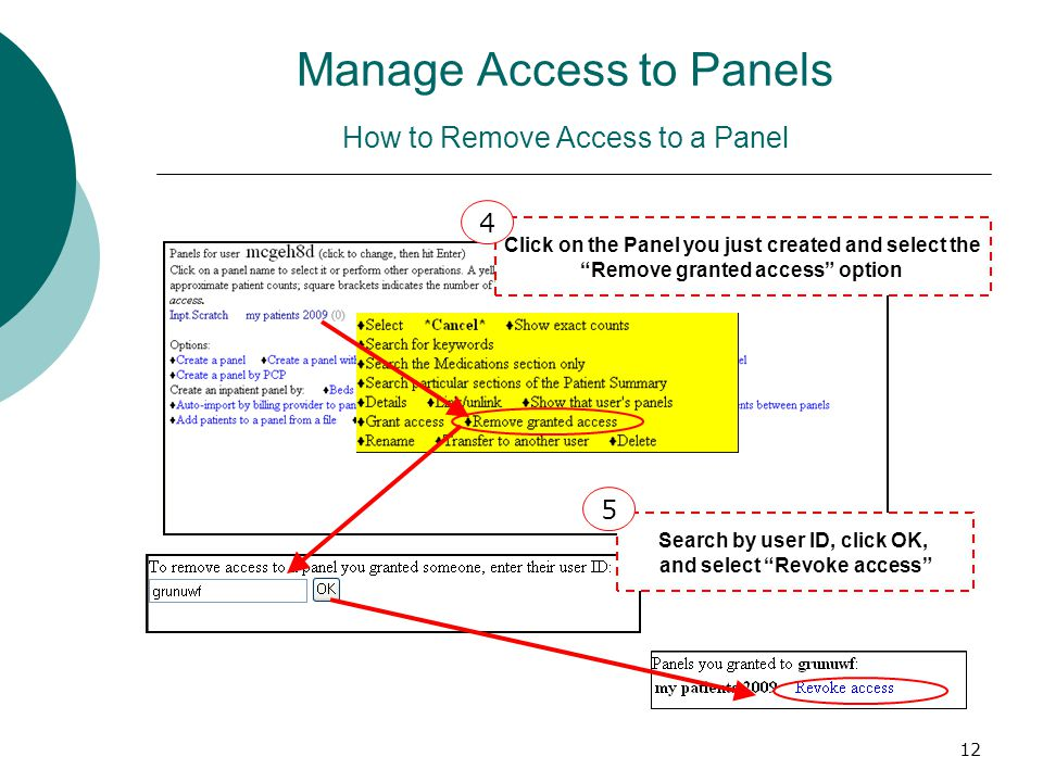 12 Click on the Panel you just created and select the Remove granted access option Search by user ID, click OK, and select Revoke access 4 5 Manage Ac