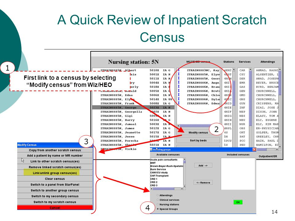 14 A Quick Review of Inpatient Scratch Census First link to a census by selecting Modify census from Wiz/HEO 1 2 4 3