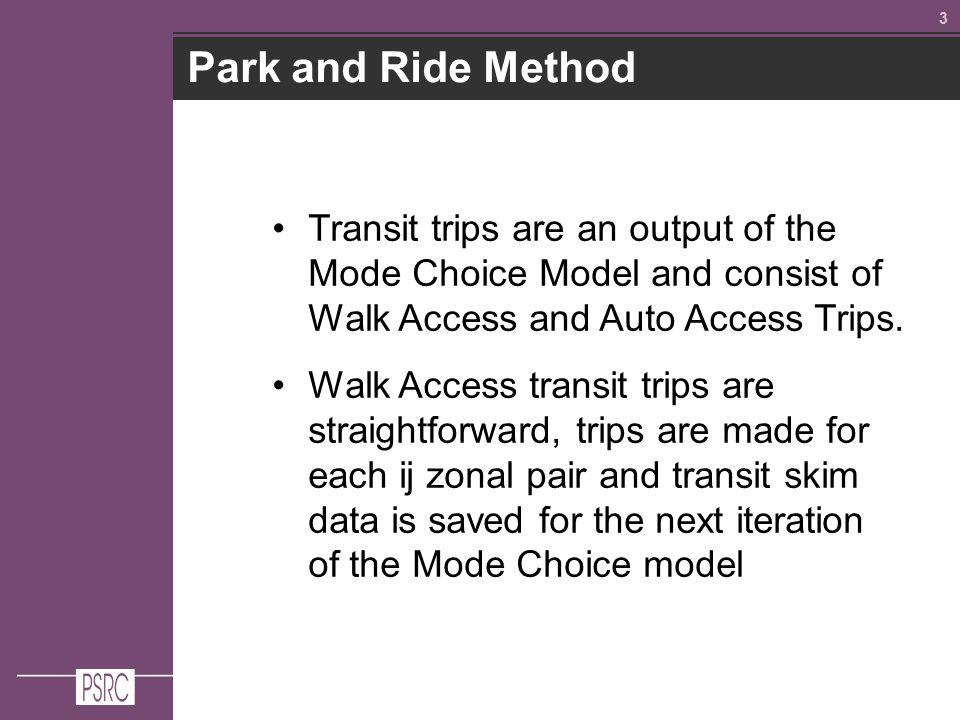 33 Park and Ride Method Transit trips are an output of the Mode Choice Model and consist of Walk Access and Auto Access Trips.