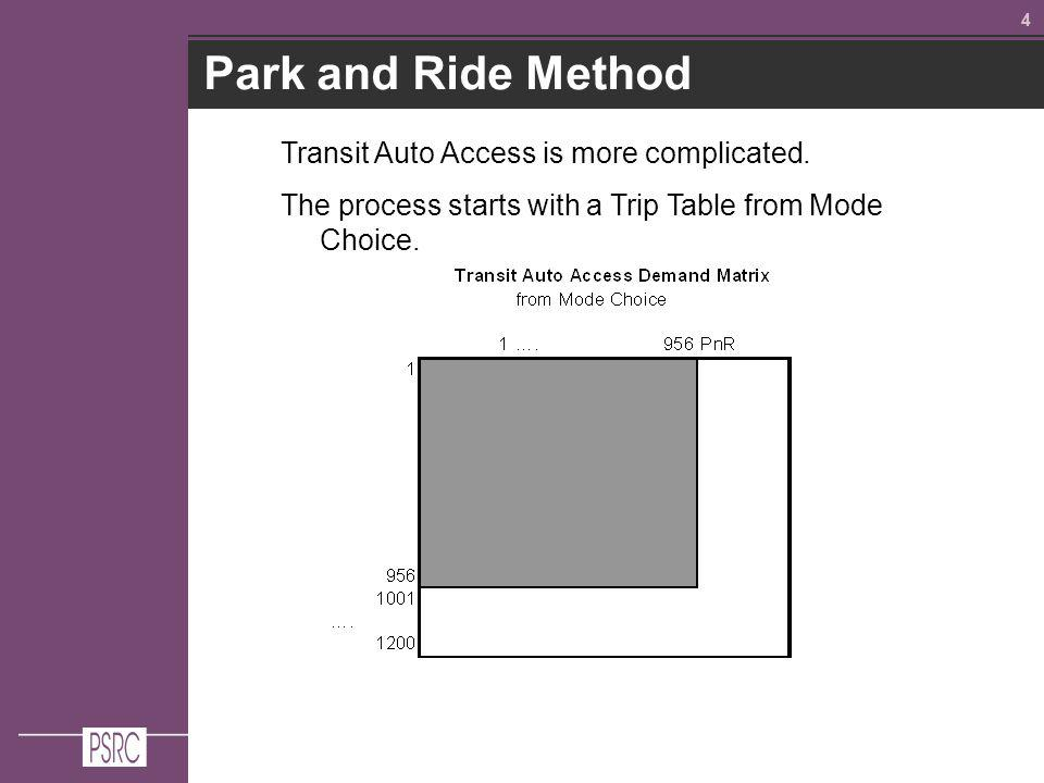 44 Park and Ride Method Transit Auto Access is more complicated.