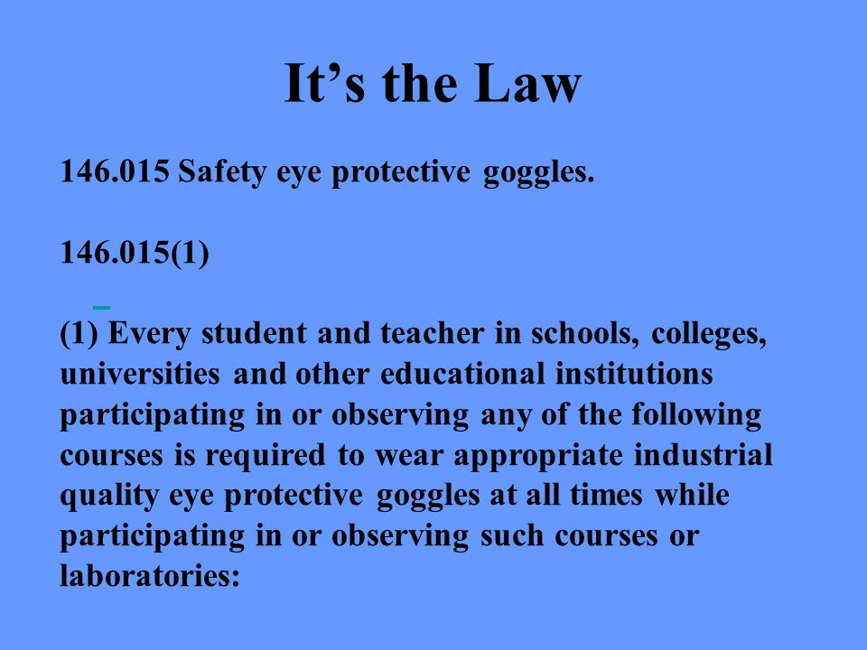 Its the Law 146.015 Safety eye protective goggles.