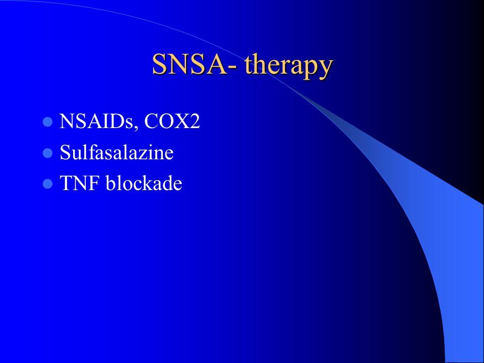SNSA- therapy NSAIDs, COX2 Sulfasalazine TNF blockade