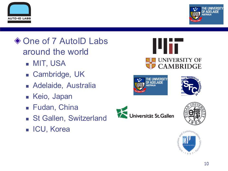 10 One of 7 AutoID Labs around the world MIT, USA Cambridge, UK Adelaide, Australia Keio, Japan Fudan, China St Gallen, Switzerland ICU, Korea