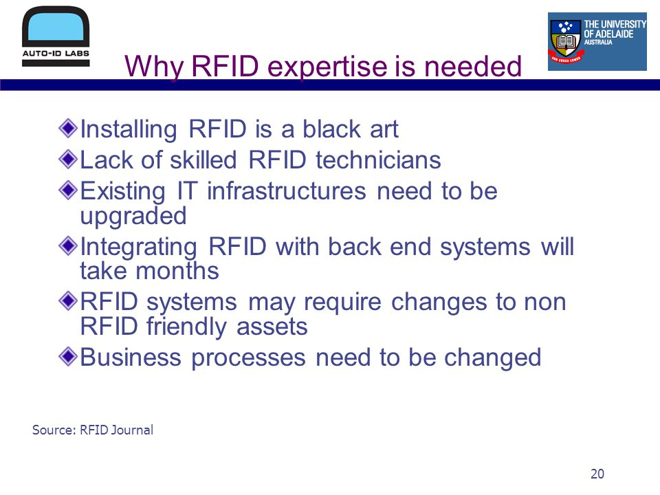 20 Why RFID expertise is needed Installing RFID is a black art Lack of skilled RFID technicians Existing IT infrastructures need to be upgraded Integrating RFID with back end systems will take months RFID systems may require changes to non RFID friendly assets Business processes need to be changed Source: RFID Journal