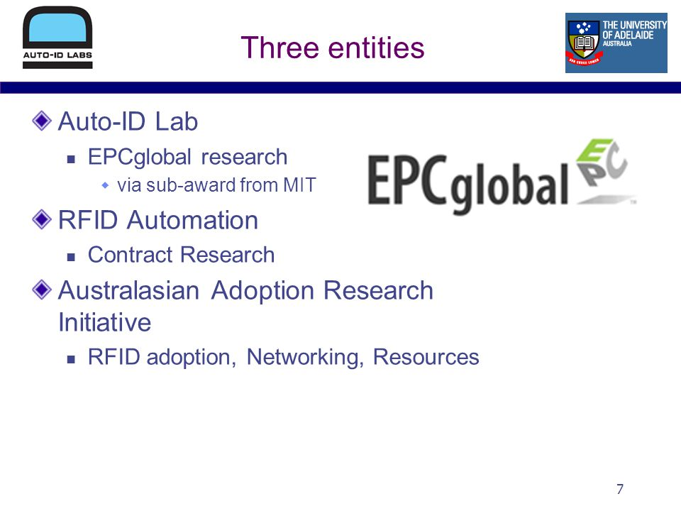 7 Three entities Auto-ID Lab EPCglobal research via sub-award from MIT RFID Automation Contract Research Australasian Adoption Research Initiative RFID adoption, Networking, Resources