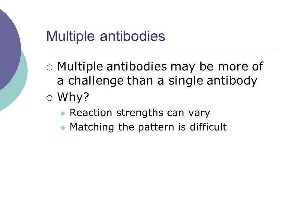 Multiple antibodies Multiple antibodies may be more of a challenge than a single antibody Why? Reaction strengths can vary Matching the pattern is dif