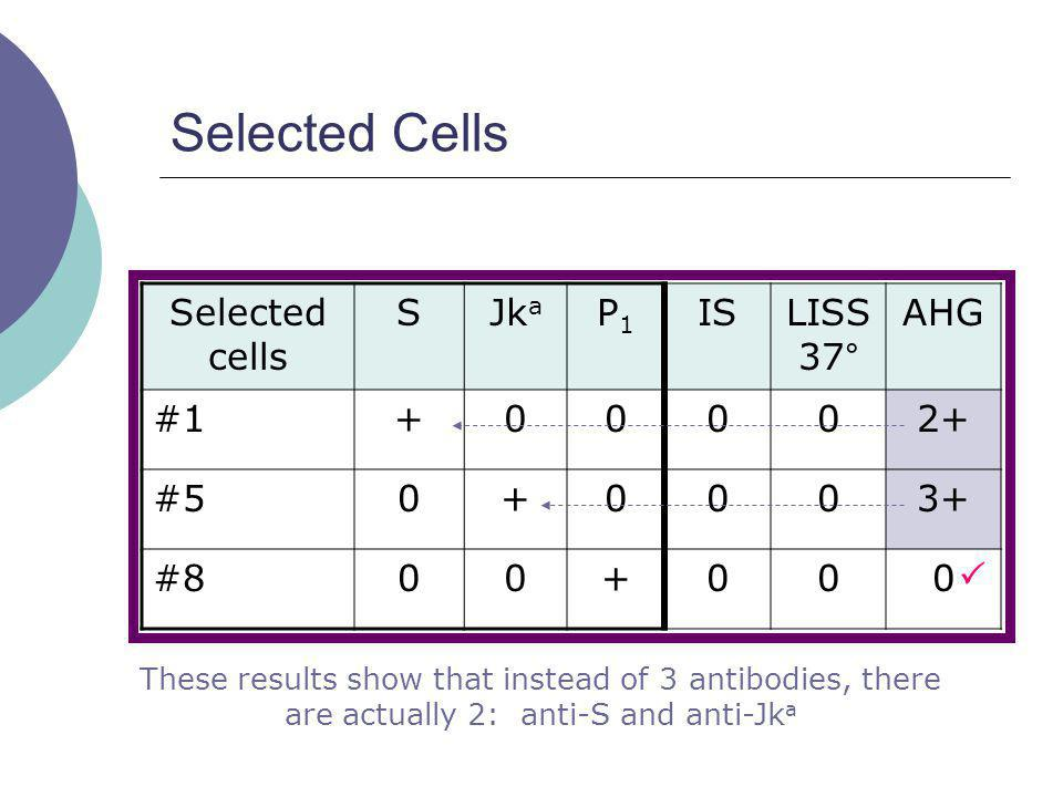 Selected Cells Selected cells SJk a P1P1 ISLISS 37 ° AHG #1+00002+ #50+0003+ #800+000 These results show that instead of 3 antibodies, there are actua