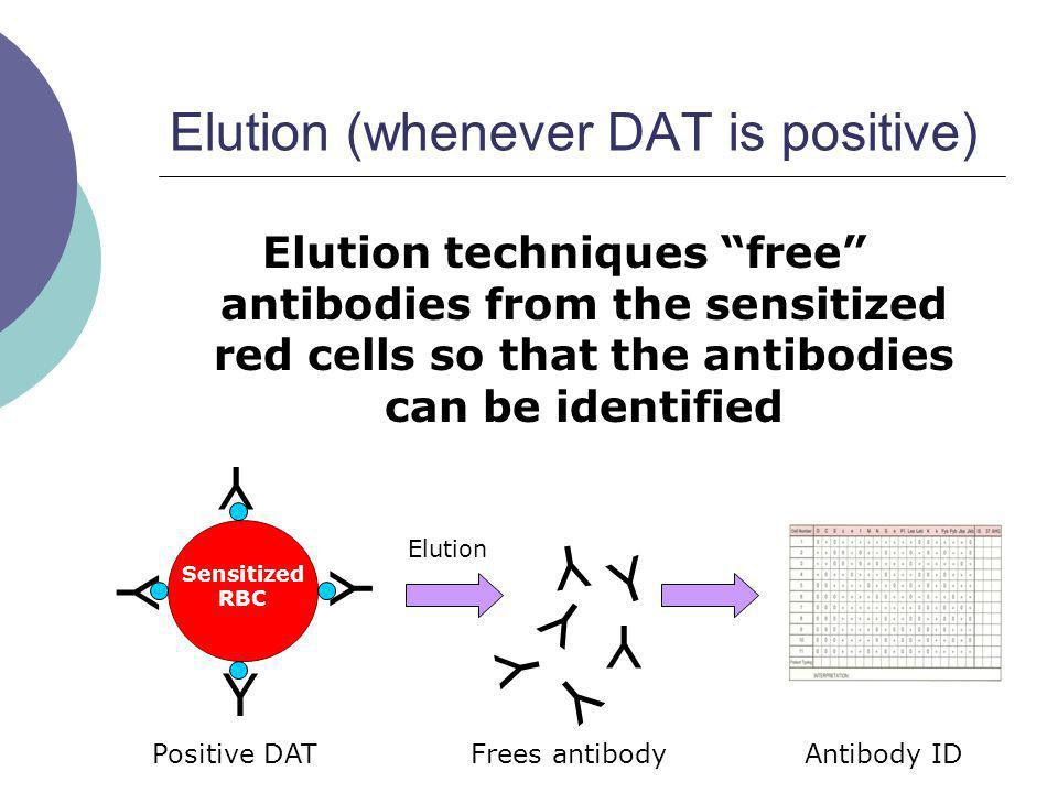 Elution (whenever DAT is positive) Elution techniques free antibodies from the sensitized red cells so that the antibodies can be identified Y Y Y Y S