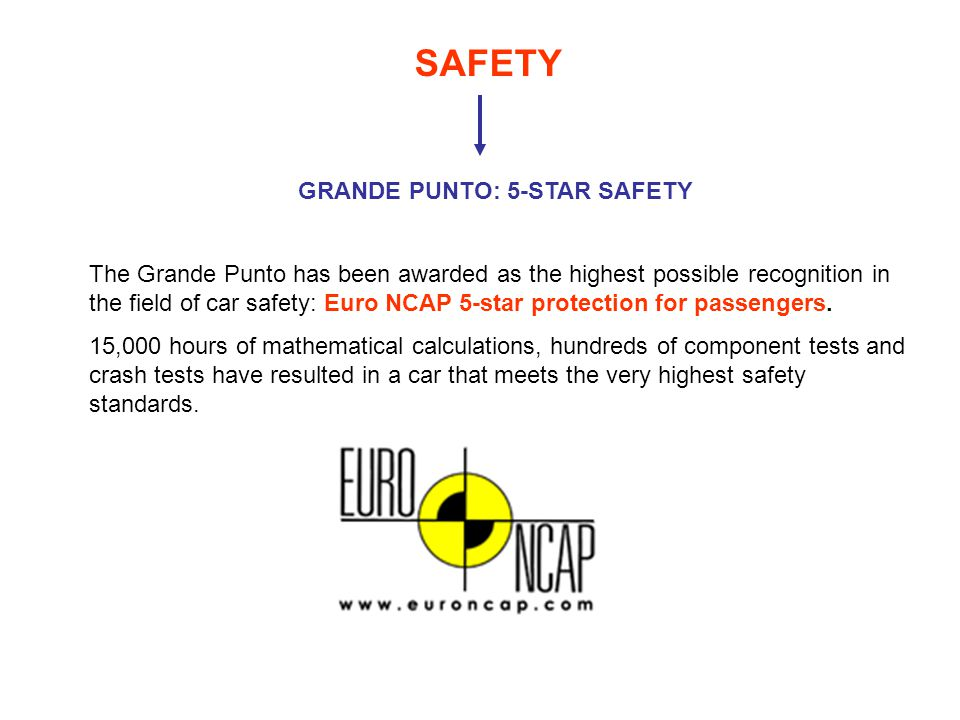 SAFETY GRANDE PUNTO: 5-STAR SAFETY The Grande Punto has been awarded as the highest possible recognition in the field of car safety: Euro NCAP 5-star protection for passengers.
