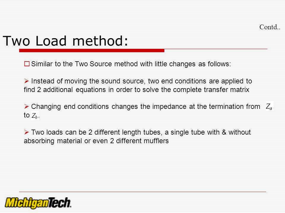 Contd.. Two Load method: Similar to the Two Source method with little changes as follows: Instead of moving the sound source, two end conditions are a
