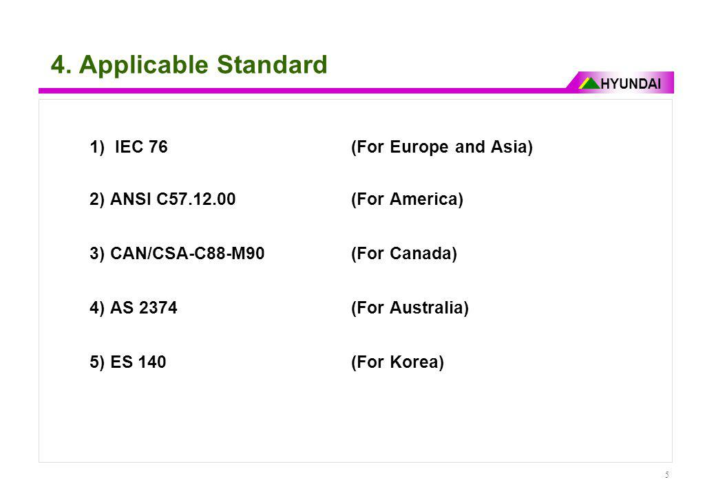 HYUNDAI 5 4. Applicable Standard 1) IEC 76 (For Europe and Asia) 2) ANSI C57.12.00 (For America) 3) CAN/CSA-C88-M90 (For Canada) 4) AS 2374 (For Austr