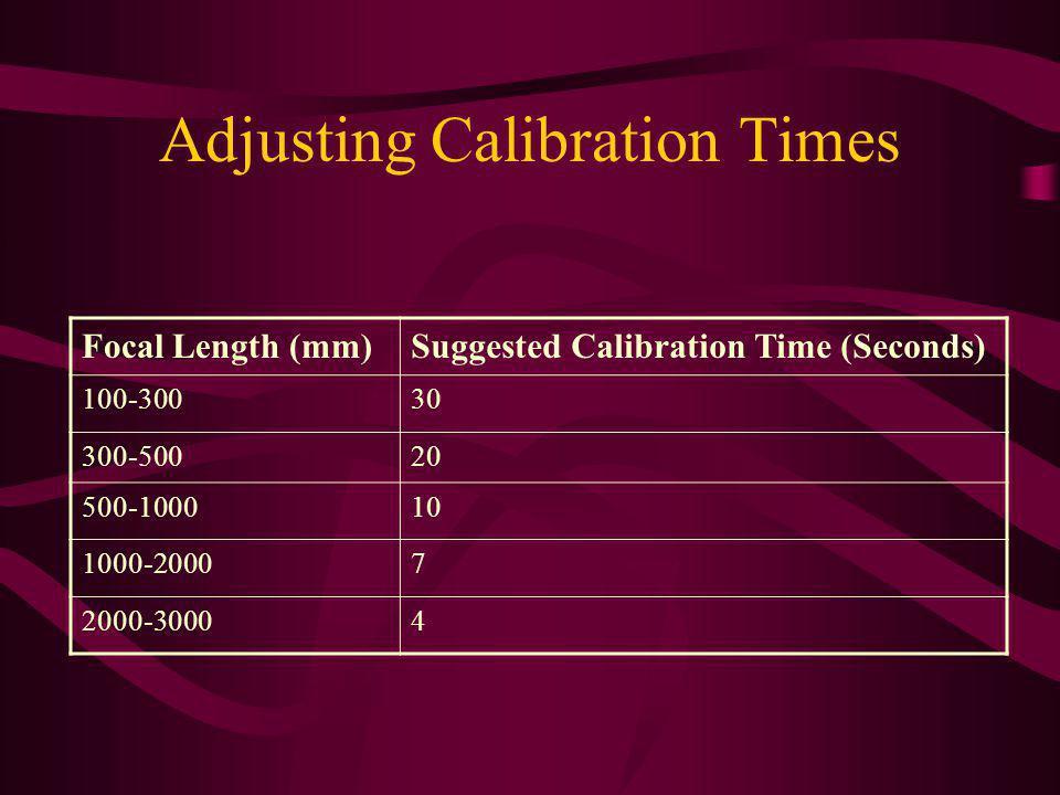 Adjusting Calibration Times Focal Length (mm)Suggested Calibration Time (Seconds) 100-30030 300-50020 500-100010 1000-20007 2000-30004
