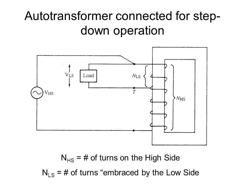 Autotransformer connected for step- down operation N HS = # of turns on the High Side N LS = # of turns embraced by the Low Side