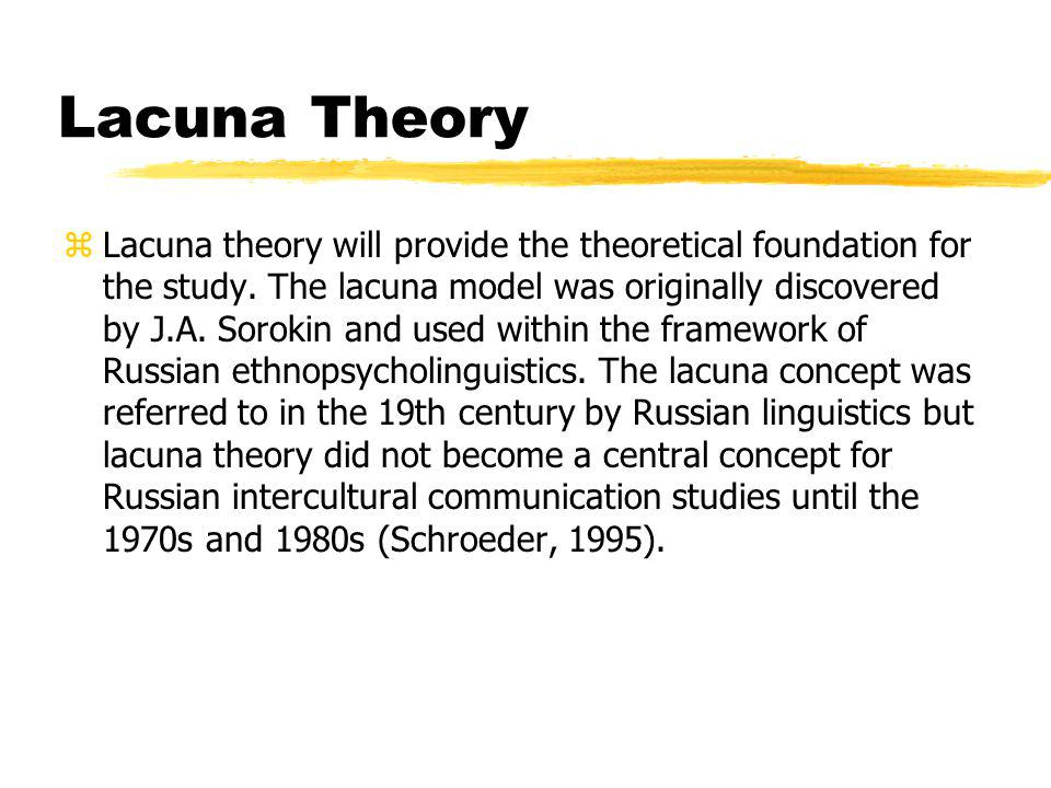 Lacuna Theory zLacuna theory will provide the theoretical foundation for the study.