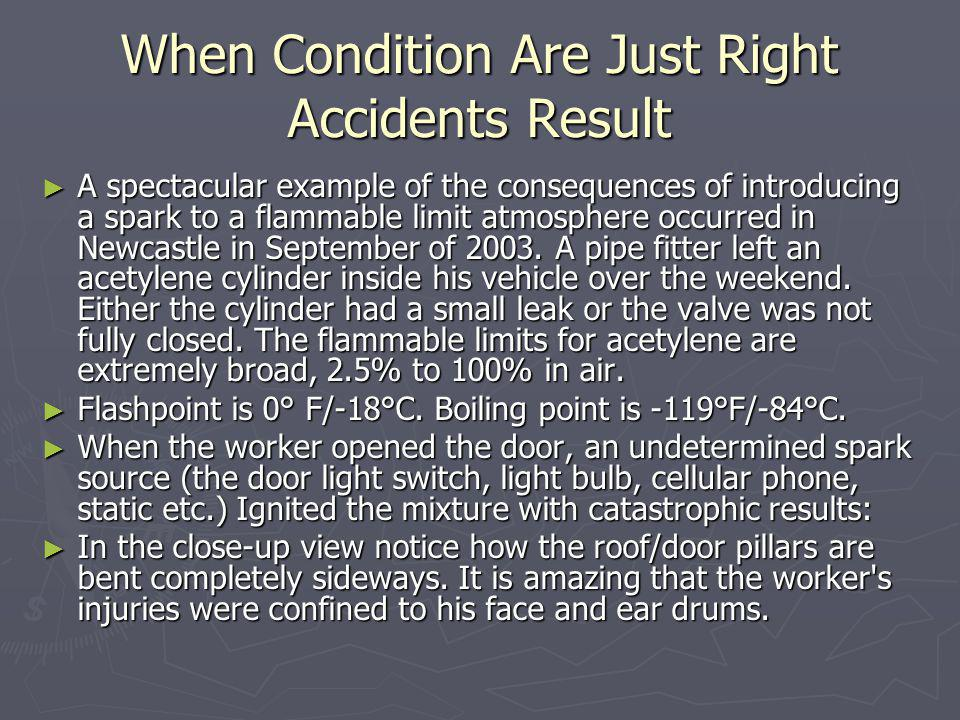 When Condition Are Just Right Accidents Result A spectacular example of the consequences of introducing a spark to a flammable limit atmosphere occurr