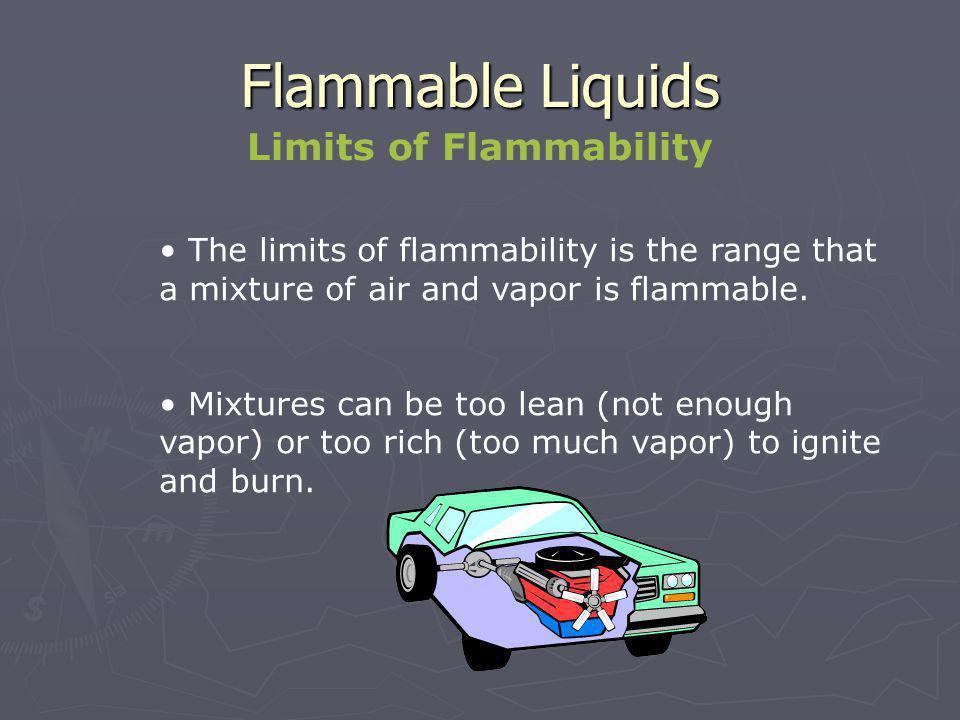 Flammable Liquids Flammable Limits Example LEL – lower explosive limit UEL – upper explosive limit