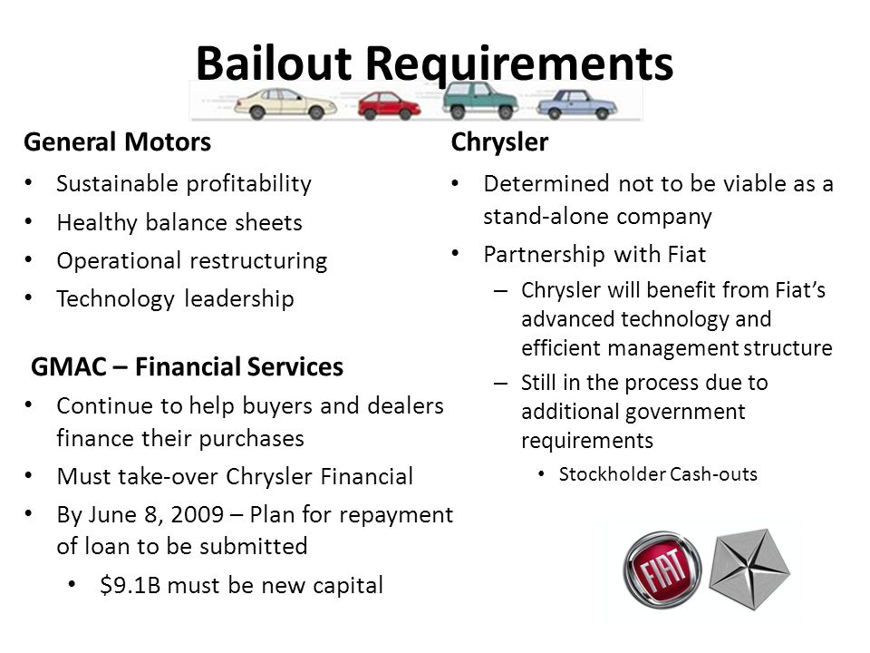 Bailout Requirements General Motors Sustainable profitability Healthy balance sheets Operational restructuring Technology leadership Chrysler Determined not to be viable as a stand-alone company Partnership with Fiat – Chrysler will benefit from Fiats advanced technology and efficient management structure – Still in the process due to additional government requirements Stockholder Cash-outs GMAC – Financial Services Continue to help buyers and dealers finance their purchases Must take-over Chrysler Financial By June 8, 2009 – Plan for repayment of loan to be submitted $9.1B must be new capital