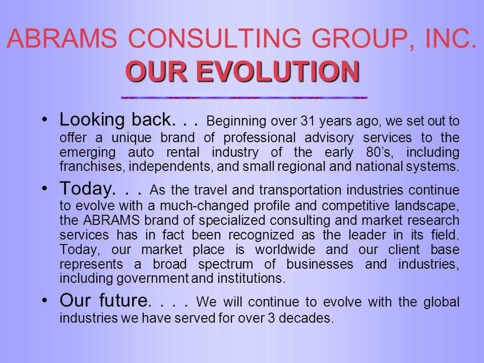 OUR EVOLUTION ABRAMS CONSULTING GROUP, INC. OUR EVOLUTION Looking back... Beginning over 31 years ago, we set out to offer a unique brand of professio
