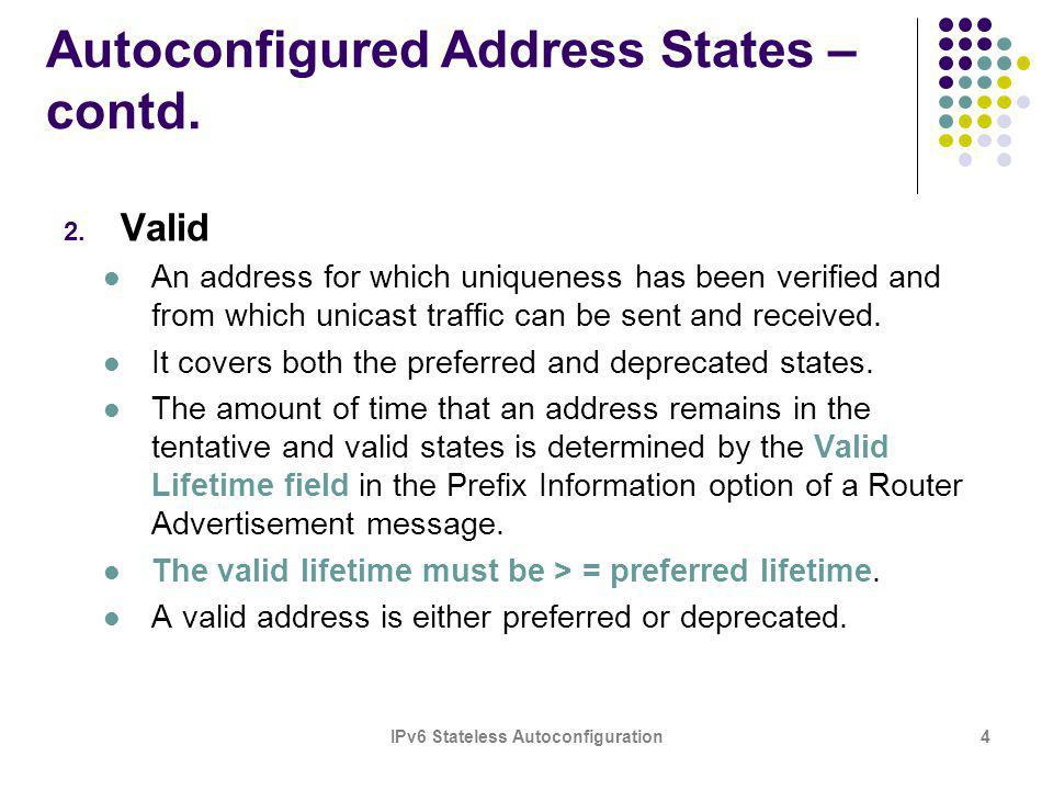 IPv6 Stateless Autoconfiguration4 Autoconfigured Address States – contd. 2. Valid An address for which uniqueness has been verified and from which uni
