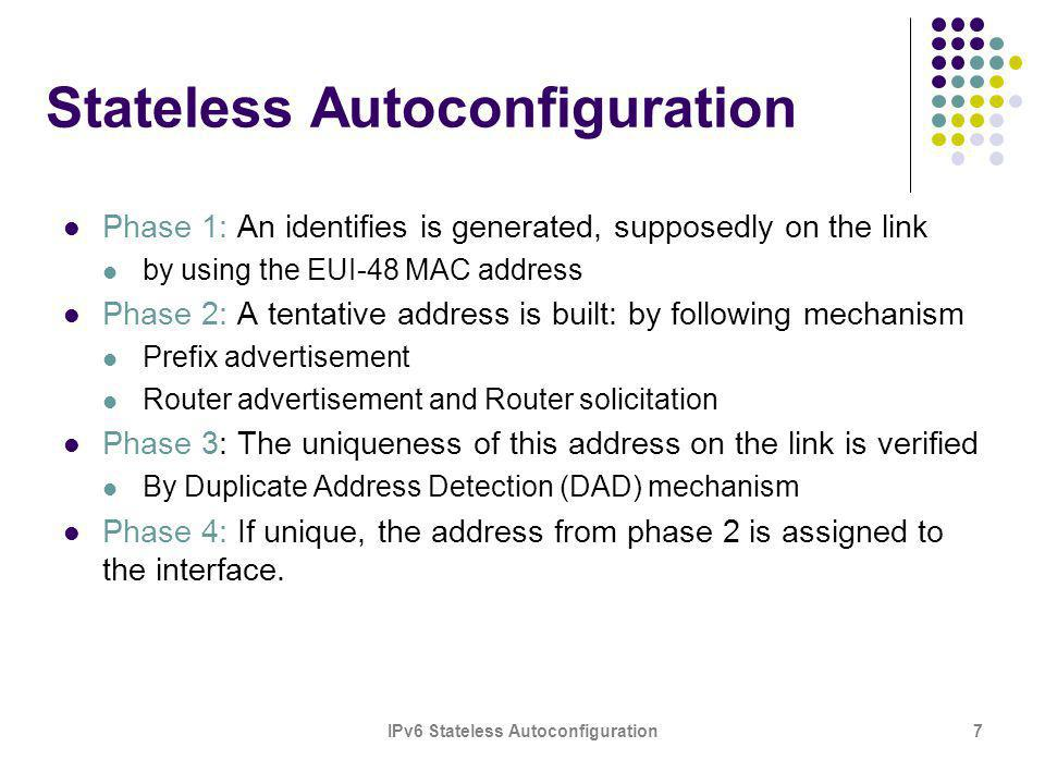 IPv6 Stateless Autoconfiguration7 Stateless Autoconfiguration Phase 1: An identifies is generated, supposedly on the link by using the EUI-48 MAC addr