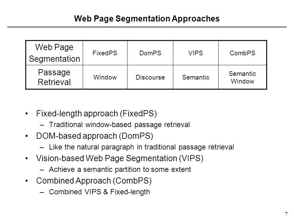 7 7 Web Page Segmentation Approaches Fixed-length approach (FixedPS) –Traditional window-based passage retrieval DOM-based approach (DomPS) –Like the natural paragraph in traditional passage retrieval Vision-based Web Page Segmentation (VIPS) –Achieve a semantic partition to some extent Combined Approach (CombPS) –Combined VIPS & Fixed-length Web Page Segmentation FixedPSDomPSVIPSCombPS Passage Retrieval WindowDiscourseSemantic Semantic Window