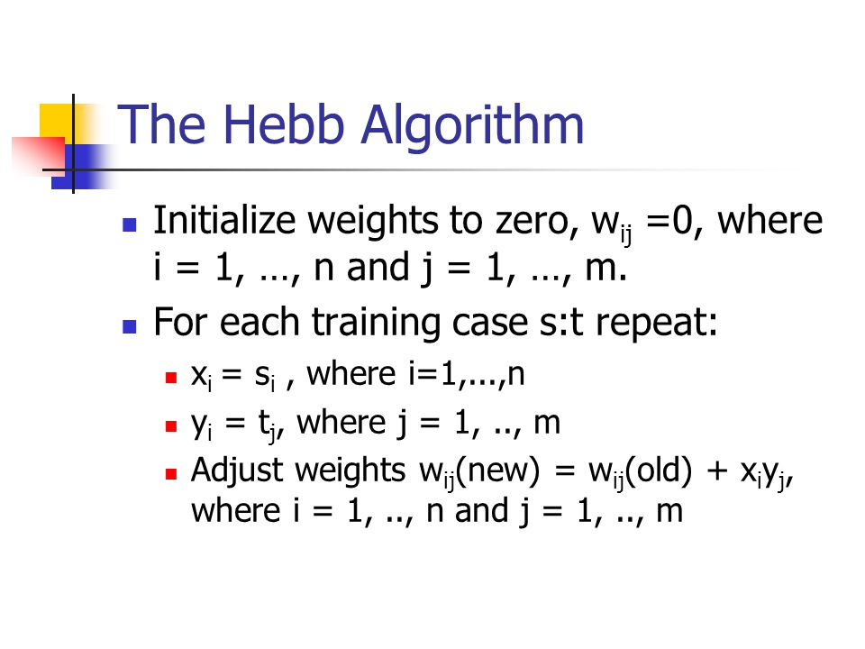 The Hebb Algorithm Initialize weights to zero, w ij =0, where i = 1, …, n and j = 1, …, m.