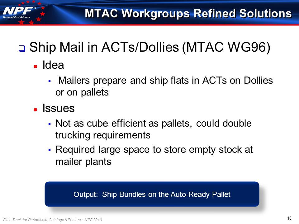 Flats Track for Periodicals, Catalogs & Printers – NPF 2010 10 National Postal Forum ® Ship Mail in ACTs/Dollies (MTAC WG96) Idea Mailers prepare and ship flats in ACTs on Dollies or on pallets Issues Not as cube efficient as pallets, could double trucking requirements Required large space to store empty stock at mailer plants MTAC Workgroups Refined Solutions Output: Ship Bundles on the Auto-Ready Pallet