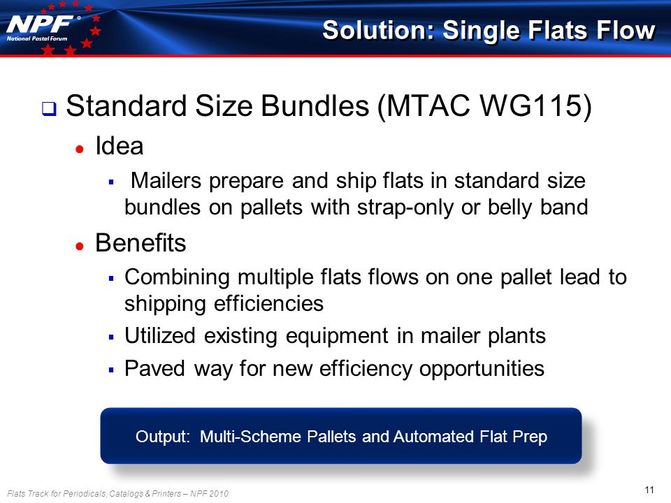 Flats Track for Periodicals, Catalogs & Printers – NPF 2010 11 National Postal Forum ® Standard Size Bundles (MTAC WG115) Idea Mailers prepare and ship flats in standard size bundles on pallets with strap-only or belly band Benefits Combining multiple flats flows on one pallet lead to shipping efficiencies Utilized existing equipment in mailer plants Paved way for new efficiency opportunities Solution: Single Flats Flow Output: Multi-Scheme Pallets and Automated Flat Prep