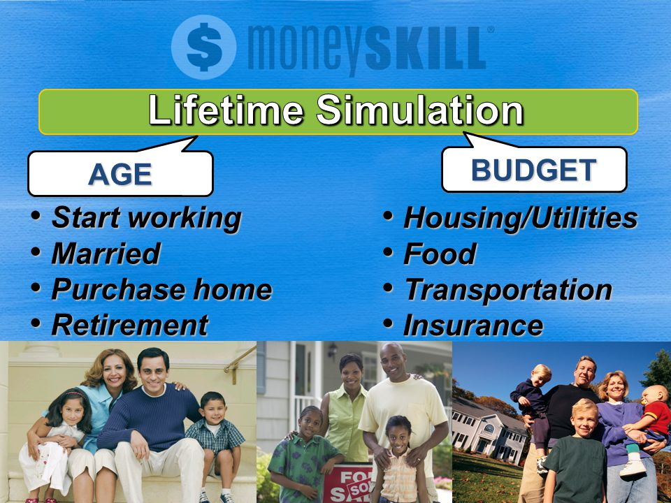 AGE Start working Start working Married Married Purchase home Purchase home Retirement Retirement BUDGET Housing/Utilities Housing/Utilities Food Food