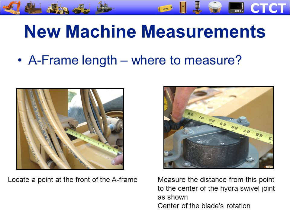 New Machine Measurements A-Frame length – where to measure? Locate a point at the front of the A-frameMeasure the distance from this point to the cent