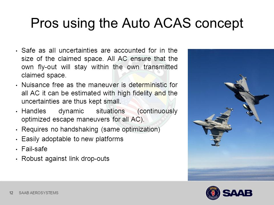 03-10-06 12SAAB AEROSYSTEMS Pros using the Auto ACAS concept Safe as all uncertainties are accounted for in the size of the claimed space. All AC ensu