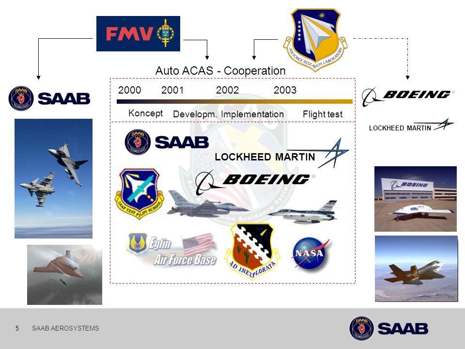 03-10-06 5SAAB AEROSYSTEMS LOCKHEED MARTIN Auto ACAS - Cooperation Koncept Developm.ImplementationFlight test 2000200120022003